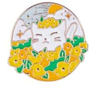 Jewelry - Cat with Yellow Flowers Enamel Pin Brooch